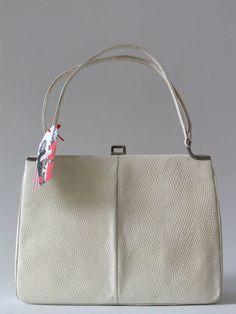 Vintage 50's witte lizard hagedissenleren handtas - Tassen & portemonnees - Vintage