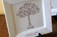 Family Tree Platter--Bride and Groom Wedding Gift for Parents RUSH LISTING. $75.00, via Etsy.