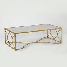 Kovový konferenčný stolík v zlatej farbe Thai Natura Chai Table, Furniture, Interior, Art Deco, Home Decor, Room, Coffee Table