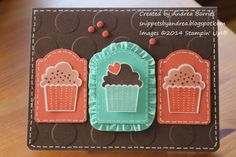 Stampin' Up! ... handmade birthday card: Cupcake trio by andib_75 .... tags with stamped and die cut cupcakes ... like the brown, orange and aqua color combo ...