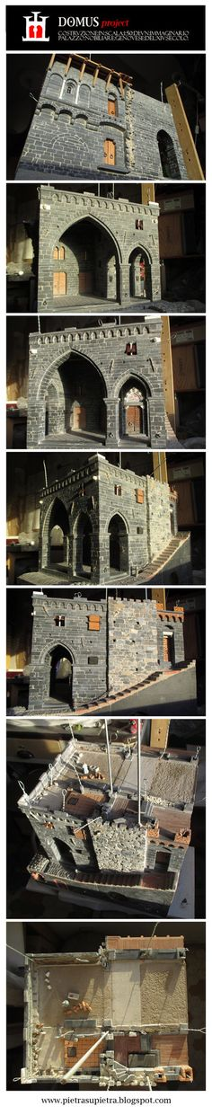 The Domus project is the construction in scale 1:50 of an imaginary medieval palace. It's made of clay, stones, slate, wood and other construction materials in the style of rich genoese buildings f...