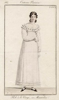 A checked gown, 1814 Costume parisien