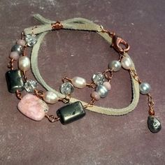 Pink gemstone leather wrap bracelet by earthegy  http://www.artfire.com/ext/shop/product_view/earthegy/3377813