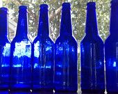 Lot of (6) Cobalt Blue Glass Bottles Six 12oz Glass Bottles Supplies for Weddings, Man Cave Crafts, Candles, Lamps,