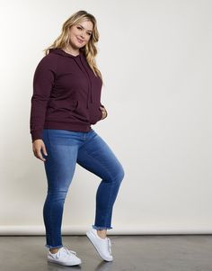 Plus Size Laid-Back Hoodie - Cute Plus Size Hoodie - Plus Size Sweater – Casual Plus Size Outfits, Summer Business Casual Outfits, Plus Size Fall Outfit, Plus Size Fall Fashion, Curvy Girl Outfits, Plus Size Casual, Casual Fall Outfits, Curvy Fashion, Black Leggings Outfit