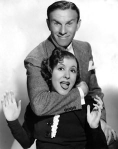 "George Burns and Gracie Allen met in 1922 and married in They would stay married until 1964 when Gracie passed. They had great success in vaudeville and later, television. Each show ended with George's trademark, ""Say goodnight, Gracie"". Golden Age Of Hollywood, Classic Hollywood, Old Hollywood, George Burns, Famous Couples, Couples In Love, Famous Women, Female Actresses, Actors & Actresses"