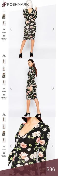 Club L Plunge Neck Midi dress floral sz 2 NWT Club L Plunge Neck Midi Dress in Spring Floral Print NWT 11-2811 ASOS Dresses Midi