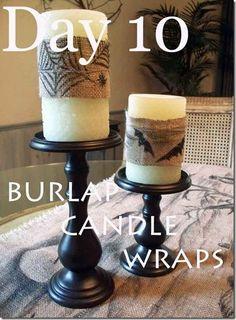 DIY Halloween : DIY Burlap Candle Wraps -