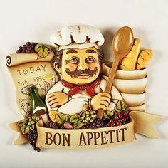 Bistro Fat Chef Bon Appetit Wall Plaque