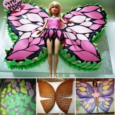 "<input class=""jpibfi"" type=""hidden"" >These Butterfly Cakes are so pretty ! They are very easy to make and perfect for birthday party or any celebration . If you have a Barbie fan at the house, try this Barbie butterfly cake, sure they will be surprised with it . Picture source : Koduhaldjas Click here for the Butterfly Cake Tutorial…"