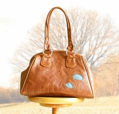 Topographical Gladstone Leather Bag with Tarns by bonspielcreation