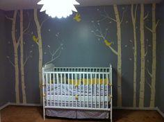 gray and yellow theme. Disney Nursery, Girl Nursery, Baby Boy Rooms, Baby Room, Grey Crib, Yellow Tree, Church Nursery, Video Pink, Nautical Theme