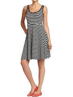 Women's Flared Jersey Dress (Black Stripe). Old Navy. $29.94