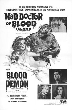 Mad Doctor of Blood Island / Blood Demon Best Movie Posters, Horror Movie Posters, Movie Poster Art, Horror Films, Scary Shows, Worst Album Covers, Horror Themes, Pulp Fiction, Science Fiction