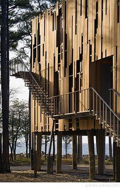 """Loblolly House"" | Taylors' Island, Maryland • Kieran Timberlake.  Exterior detail of cedar rain screen and stair."