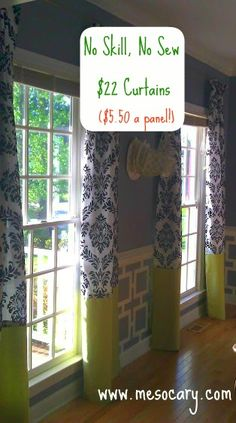 95 inch curtains using shower curtains and a couple extra yards of fabric...cheaper than actual curtain panels...and more customizable too!