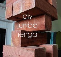 This Jumbo Jenga set was SO easy to make!  It took less than an hour.  This is a perfect lawn game or party game.  The whole thing was $65