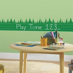 Amazon.com: One Décor Learning Lawn Chalk Peel & Stick Wall Decals Chalkboard Grass: Home & Kitchen