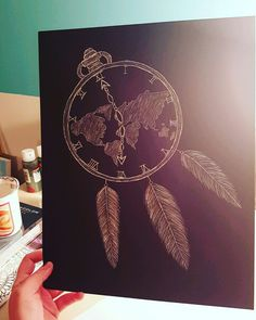 By: @tEwells12 / Taylor Wells - Scratch Art, world, globe, map, feathers, dream catcher, pocket watch, time, God the master of time holds the whole world in his hands. We have but one life to live out the dreams he has called us to, so let us live a life worthy of our callings