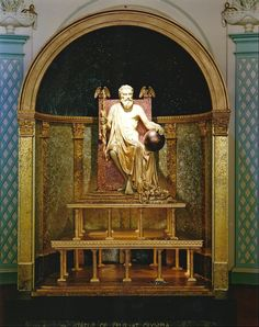 The Statue of Zeus at Olympia - sculpted by Phidias in ivory in 435 B. to honor the Greek god Zeus. The figure of Nike, his messenger, was in his right hand and a scepter in his left. Ancient History, Art History, Zeus Statue, Greek Statues, Classical Antiquity, Seven Wonders, Ancient Artifacts, Greek Gods, Gods And Goddesses