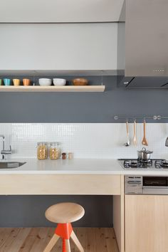 Kitchen shot of Fujigaoka M apartment designed by Sinato.