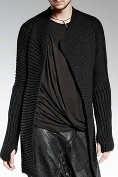 ASYMMETRICAL HAND MADE Black Cardigan High Quality virgin