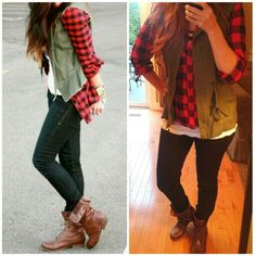 Red and black flannel, black jeans, olive military vest, white t-shirt, brown ankle boots. Lumberjack style