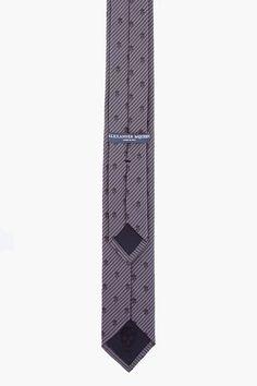 ALEXANDER MCQUEEN Charcoal Skull Striped Silk Tie