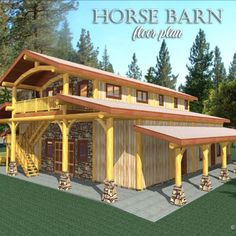 At Cascade Handcrafted Log Homes we'll work with you in choosing a floor plan or your custom design, then we'll build it for you! Room Kitchen, Kitchen Dining, Dining Room, Horse Stalls, Horse Barns, Riding Stables, Barn Loft, Log Home Floor Plans, Barn Animals