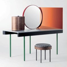 Minimalist vanity table. @dezeen. For more inspiration check out our blog: http://www.kenisahome.com/blog/about-brands/updating-your-vanity/