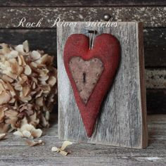 Primitive Valentine Keyhole Heart Barn Wood by rockriverstitches