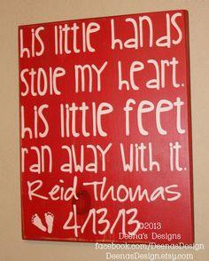 Baby Boy Nursery Decor, Nursery Wall Decor, Nursery Art, Baby Boy Gift - His Little Hands Stole My Heart - Personalized