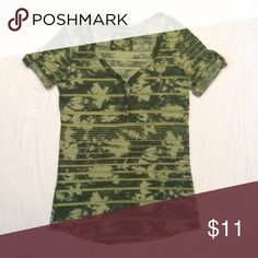 Army Green Tee Army green v-neck tee with non-functioning buttons. Size is M but fits S best. Mudd Tops Tees - Short Sleeve