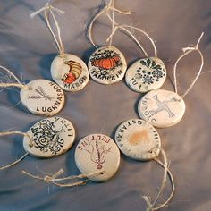 Pagan Wheel of the Year ornament set. by gryphonwyck on Etsy