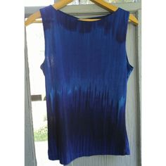 Midnight blue tank top by Rave large L wide strap Wide strap tank top in deep cobalt and navy blue tie dye print. By Rave. Stretchy somewhat sheer fabric. I bought this top in about 2001 and now it's almost vintage ;) Good condition with no stains or tears. From a smoke free home. Rave Tops Tank Tops
