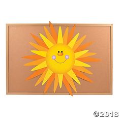 Do It Yourself Sun Bulletin Board Set. This colorful DIY project makes quite the treat for your entire class to complete during spring or summer classes! Includes 1 cardboard sun and 30 paper rays. per unit) Sun, rays, x © OT Sun Bulletin Boards, Birthday Bulletin Boards, Summer Crafts For Toddlers, Toddler Crafts, Sun Crafts, Pre K Graduation, Sunday School Classroom, Sunshine Birthday, Middle School Art