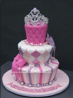 pink & white , princess cake for little girl