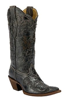 LOVE!!! Corral Ladies Distressed Black w/ Black Lizard Inlay Western Boots