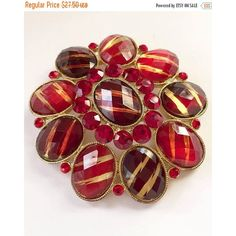 Red Glass Pin or Brooch, Givre Vintage Jewelry SPRING SALE (115 ILS) ❤ liked on Polyvore featuring jewelry, brooches, vintage brooches, vintage jewelry, vintage pins brooches, red jewelry and red jewellery
