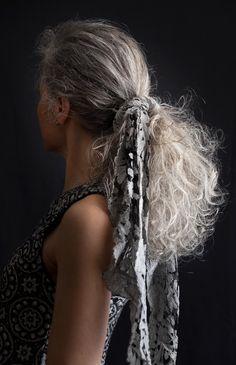 gray long curly hair