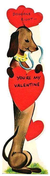 Vintage Dachshund valentines card
