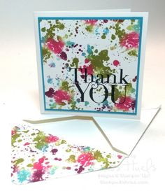 A tie-dyed thank you using Another Thank You photopolymer stamp and Gorgeous Grunge, both from Stampin' Up!  This fun technique uses ink refills and a baby wipe!  Details at http://stampwithkriss.com/a-tie-dyed-thank-you
