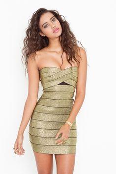 Sweet Bandage Dress - Gold  Style #: 14296  $68.00