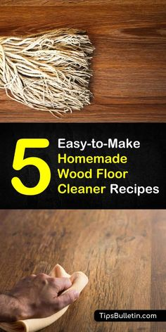 Clean your floors with these five homemade wood floor cleaner recipes and cleaning tips. Learn how to make DIY, all-natural hardwood floor cleaner recipes that use simple products like vinegar, castile soap, rubbing alcohol, and baking soda. Homemade Wood Floor Cleaner, Floor Cleaner Recipes, Cleaners Homemade, Diy Cleaners, Natural Wood Floor Cleaner, Best Hardwood Floor Cleaner, Diy Floor Cleaner, Natural Cleaners, Cleaning Wood Floors