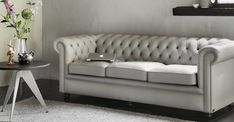 Modern Chesterfield made by Springvale Chesterfields. The Pure English Quality! Chesterfield Bank, Sofa, Couch, Love Seat, English, Pure Products, Grey, Modern, Silver