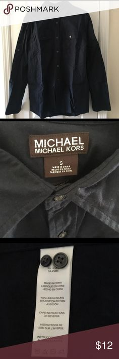 Michael Michael Kors Men Long Sleeves Shirt Size S Almost new! Just wore once and washed.  Size: Men S Color: navy Material: 55% linen 45% cotton MICHAEL Michael Kors Shirts
