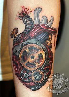 """""""Steam Powered Pump Organ"""" tattoo by Tim Kern."""