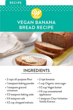 Whether you're making breakfast or brunch for your friends or welcoming someone to the neighborhood, this Vegan Banana Bread is a great way to show someone how much you care. Fun Baking Recipes, Sweets Recipes, Dairy Free Recipes, Hot Milk Cake, Gourmet Bakery, Pan Sin Gluten, Baking Basics, Vegan Banana Bread, Cake Decorating Tips