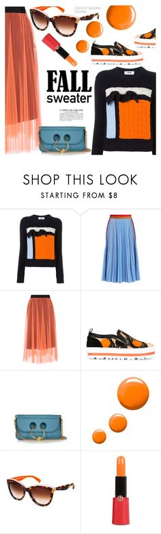 """Orange"" by smartbuyglasses-uk ❤ liked on Polyvore featuring MSGM, J.W. Anderson, Topshop, Dolce&Gabbana and Giorgio Armani"