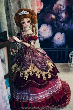 CherryDoll Arcane Princess Dress Red European style court fancy bjd
